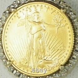 2005 1/10 Oz American Gold Pendentif Eagle 14k Or Jaune 18 Boîte Collier Chaîne