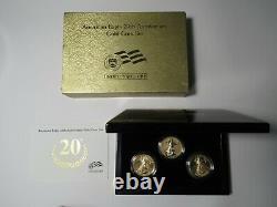 2006-w American Gold Eagle 20th Anniversary 3 Coin Set Avec Preuve Et Contre-preuve