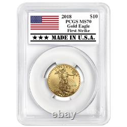 2018 $10 American Gold Eagle 1/4 Oz Pcgs Ms70 First Strike Made In USA Label