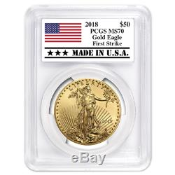 2018 50 $ Américain Gold Eagle 1 Oz Pcgs Ms70 First Strike Made In USA Étiquette