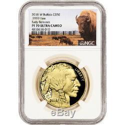 2018-w American Gold Buffalo Proof 1 Oz 50 $ Ngc Pf70 Début De Presse Étiquette Bison
