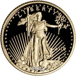 2018-w American Gold Eagle Proof 1/10 Oz 5 $ En Ogp