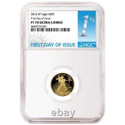 2018-w Proof 5 $ American Gold Eagle 1/10 Oz Ngc Pf70uc Première Étiquette D'ide