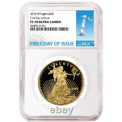 2018-w Proof $50 American Gold Eagle 1 Oz Ngc Pf70uc Fdi First Label