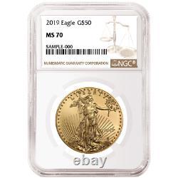 2019 50 $ Américain Gold Eagle 1 Oz Ngc Ms70 Brown Étiquette