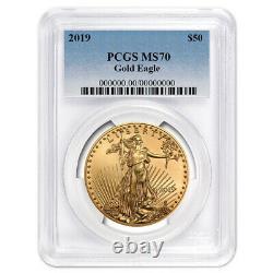 2019 $50 American Gold Eagle 1 Oz. Label Bleu Pcgs Ms70