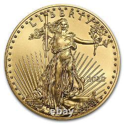 2020 1/10 Oz American Gold Eagle Bu Tube De 50