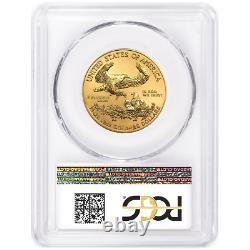 2020 25 $ American Gold Eagle 1/2 Oz Pcgs Ms70 Fdoi Drapeau Label