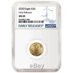 2020 $ 5 Gold Eagle Américain 1/10 Onces. Ngc Ms69 Bleu Er Étiquette