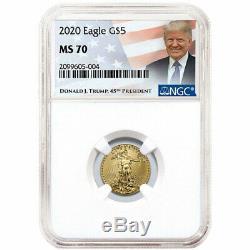 2020 $ 5 Gold Eagle Américain 1/10 Onces. Ngc Ms70 Trump Étiquette
