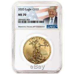 2020 50 $ Américain Gold Eagle 1 Oz Ngc Ms70 Trump Étiquette