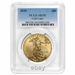 2020 $50 American Gold Eagle 1 Oz Pcgs Ms70 Blue Label