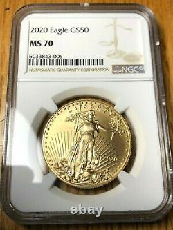 2020 $50 Gold Eagle Ngc Ms 70 Ms70 Parfait! Top Pop Américain Le Mieux Classé