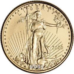 2020 Américaine Gold Eagle 1/10 Oz 5 $ Bu Trois 3 Coins