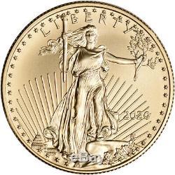 2020 Américaine Gold Eagle 1/2 Oz 25 $ Pièce Bu En U. S. Mint Boîte-cadeau