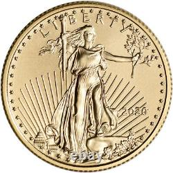 2020 Américaine Gold Eagle 1/4 Oz 10 $ Bu Trois 3 Coins