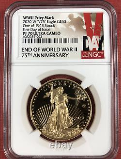 2020 Fin De La Seconde Guerre Mondiale 75e American Eagle Gold Pf70 Ultra Cameo V75 Fdoi Seconde Guerre Mondiale