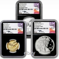 2020 Fin De La Seconde Guerre Mondiale 75e Anniv 1oz Eagle V75 1/2oz Or & 1oz Médaille D'argent Fdoi