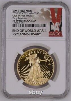 2020 Fin De La Seconde Guerre Mondiale 75e Anniversaire Aigle Or Américain Ngc Pf70 Er