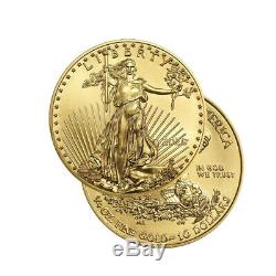 2020 Or 1/4 Oz D'or American Eagle 10 $ Us Mint Gold Eagle Coin