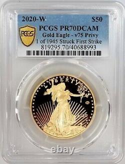 2020 W Proof 1 Oz, $50 Gold Eagle V75 Privy, Pcgs Pr 70 Dcam First Strike