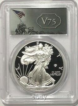2020 W Silver Eagle Pcgs Pr69 Première Grève V75 Privy 75th Ann Fs Gold Shield