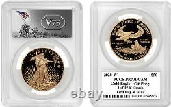 2020-w 1 Oz Gold Eagle V75 Privy Pr70 Pcgs 1 De 1945 Frappé Premier Jour D'émission