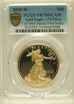 2020-w 50 $ Gold Eagle V75 Privy Pcgs Pr70dcam Première Grève 1 De 1945 Pièce Wwii