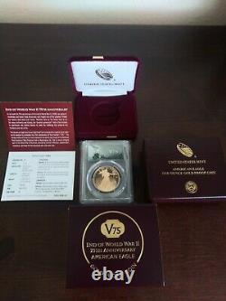 2020-w Fin De La Seconde Guerre Mondiale 50 $ American Gold Eagle Privé V75 Pcgs Pr70 Dcam