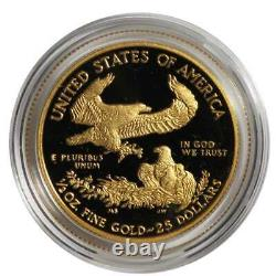 2020-w Proof 25 $ American Gold Eagle 1/2 Oz. Boîte, Ogp Et Aco