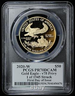 2020-w Proof $50 American Gold Eagle Wwii 75th Pcgs Pr70dcam First Day Issue V75