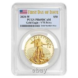 2020-w V75 1 Oz Proof Gold American Eagle End Of Wwii 75th Anniv Pcgs Pf 69 Fdoi