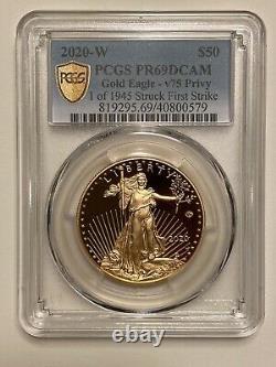 2020-w V75 Gold Wwii Privy Pcgs Pr69dcam First Strike Coin 20xe Eagle 1 De 1945