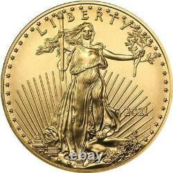 2021 1/10 Oz American Gold Eagle Coin Type 2 Bu 5 $