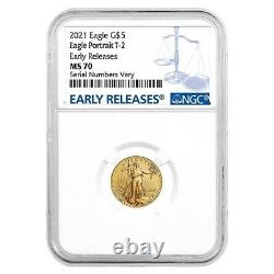 2021 1/10 Oz Gold American Eagle Type 2 Ngc Ms 70 Premiers Rejets