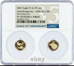 2021 1/10 Oz Gold Set Designer Ngc Pf70 En Libérations American Eagle Type 1 & 2 T1
