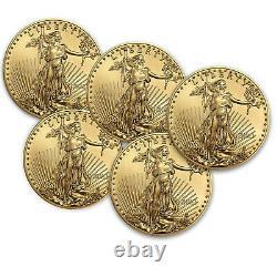 2021 1 Oz American Gold Eagle Bu (lot De 5)