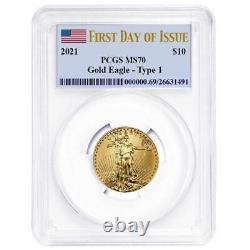 2021 10 $ American Gold Eagle 1/4 Oz. Étiquette Du Drapeau Ms70 Fdoi Pour Pcgs
