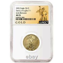 2021 $10 American Gold Eagle 1/4 Oz Ngc Ms70 Als Er Label