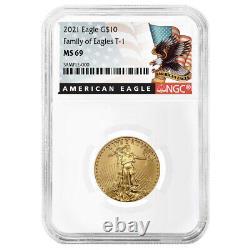 2021 10 $ Type 1 Aigle D'or Américain 1/4 Oz Ngc Ms69 Black Label