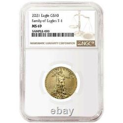 2021 10 $ Type 1 Aigle D'or Américain 1/4 Oz. Ngc Ms69 Étiquette Brune