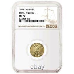2021 $ 5 American Gold Eagle 1/10 Oz. Ngc Ms70 Étiquette Brune