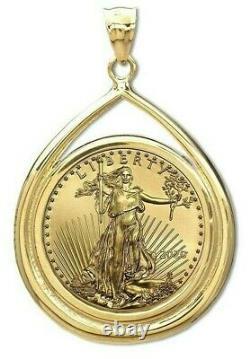 2021 5 $ Or American Eagle Gem Coin Set Dans La Lunette Teardrop 14-kt 488,88 $