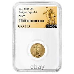 2021 $5 Type 1 Aigle D'or Américain 1/10 Oz. Étiquette Ngc Ms70 Als
