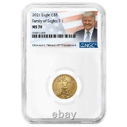 2021 $5 Type 1 Aigle D'or Américain 1/10 Oz. Étiquette Ngc Ms70 Trump