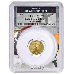 2021 $ 5 $ Type 1 American Gold Eagle 1/10 Oz Pcgs Ms70 Fs West Point Frame