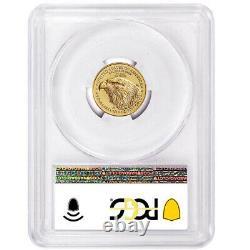 2021 $5 Type 2 American Gold Eagle 1/10 Oz Pcgs Ms70 Fdoi Drapeau Étiquette
