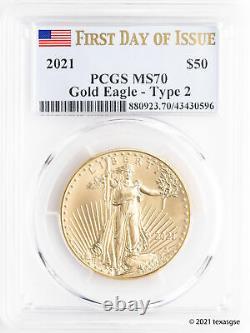 2021 50 $ Gold American Eagle Type 2 Pcgs Ms70 Première Journée D'émission Drapeau Étiquette