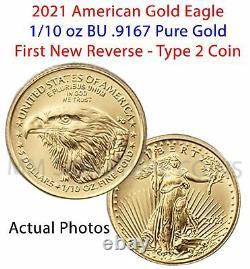 2021 Aigle D'or Américain 1/10 Oz Bu Coin Type 2 En Main