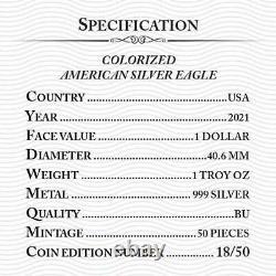 2021 American Eagle Liberty Colorized Bitcoin New Gold 1oz. 999 Pièce En Argent Pur